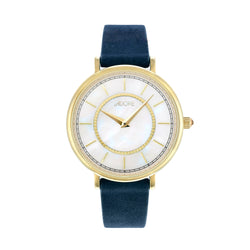 Naturale 33mm Navy Leather Watch - Gold Plated / Swarovski® Crystal