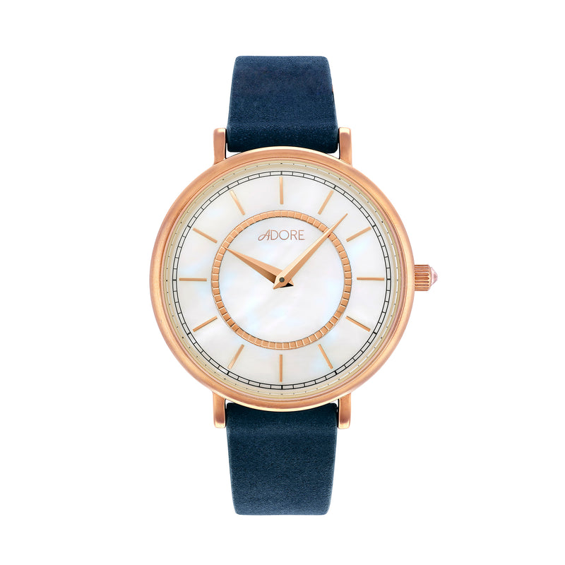 Naturale 33mm Navy Leather Watch - Rose Gold Plated / Swarovski® Crystal