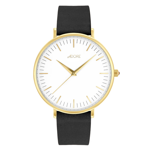 Signature 38mm Black Leather Watch - Gold Plated / Swarovski® Crystal