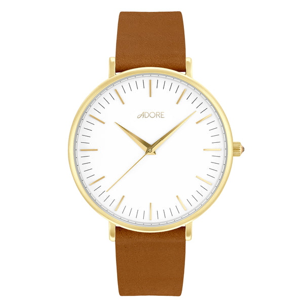 Signature 38mm Light Brown Leather Watch - Gold Plated / Swarovski® Crystal