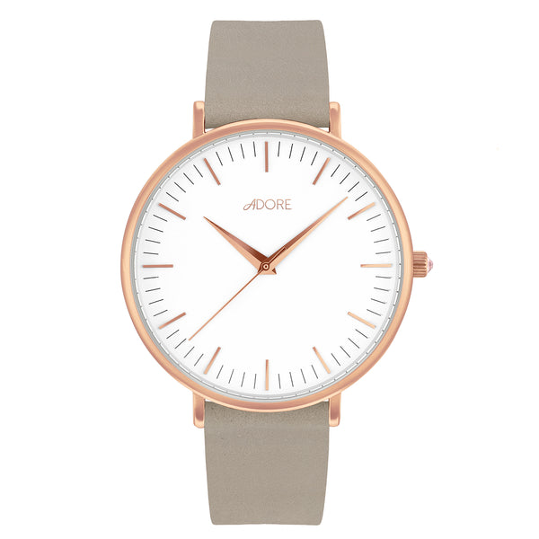 Signature 38mm Grey Leather Watch - Rose Gold Plated / Swarovski® Crystal