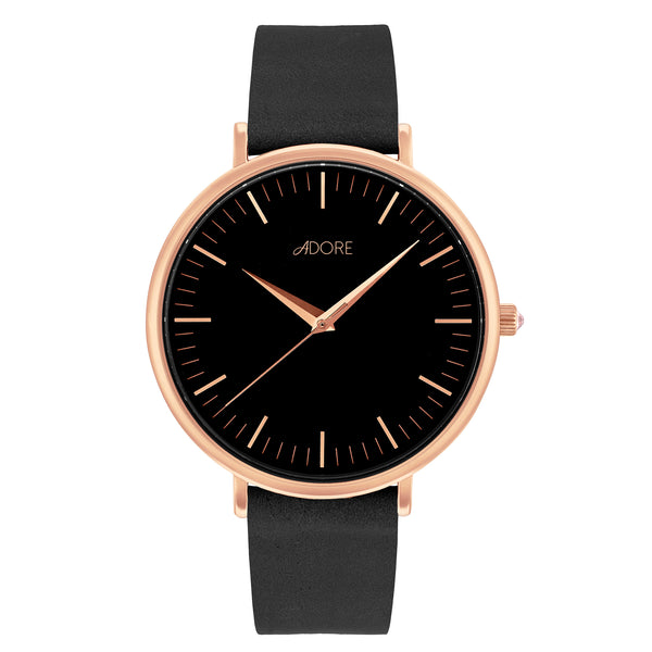 Signature 38mm Black Leather Watch - Rose Gold Plated / Swarovski® Crystal