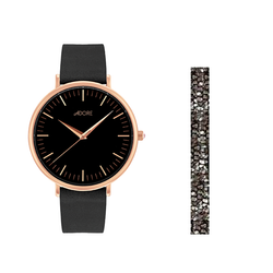 Holiday Signature 33mm Black Leather Watch - Rose Gold Plated / Swarovski® Crystal