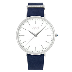 Elegance 38mm Navy Leather Watch - Rhodium Plated / Swarovski® Crystal