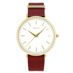 Elegance 38mm Red Leather Watch - Gold Plated / Swarovski® Crystal