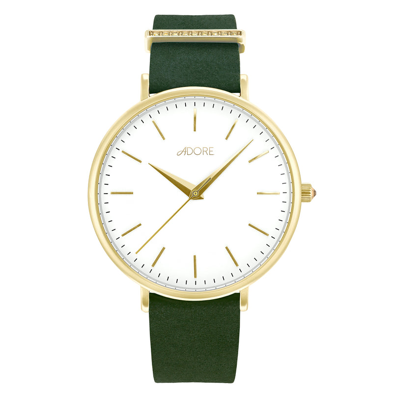 Elegance 38mm Green Leather Watch - Gold Plated / Swarovski® Crystal