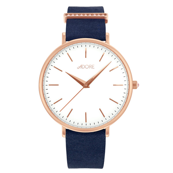 Elegance 38mm Navy Leather Watch - Rose Gold Plated / Swarovski® Crystal