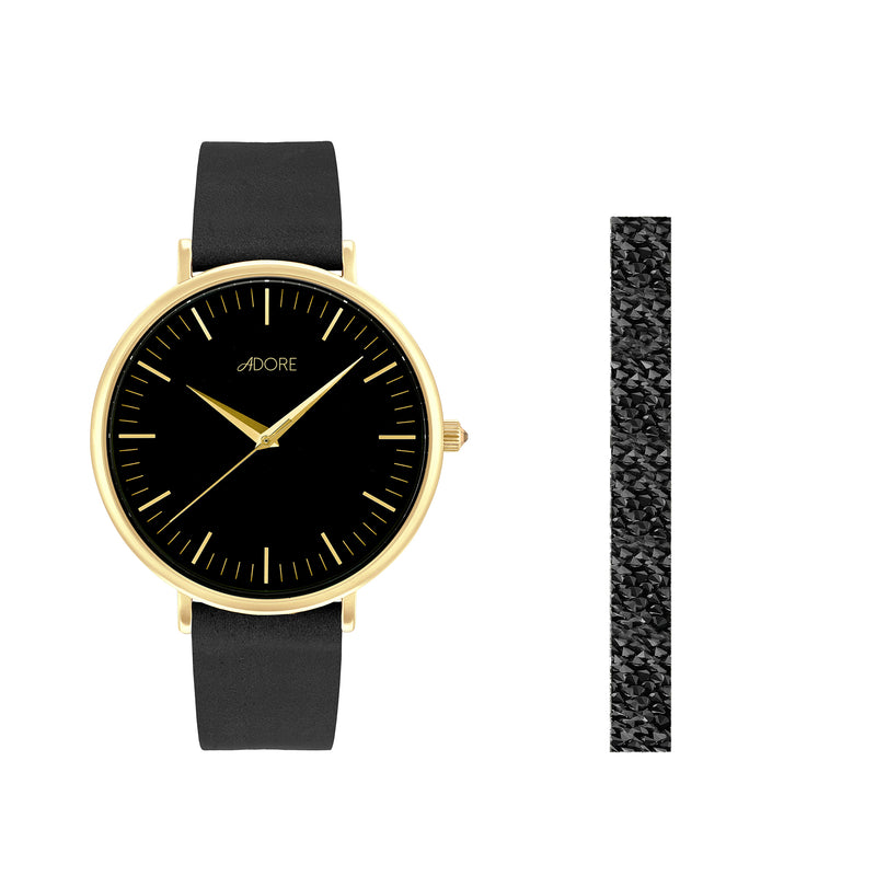 Holiday Signature 38mm Black Leather Watch - Gold Plated / Swarovski® Crystal