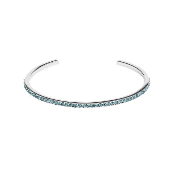 Skinny Pavé Bangle - Denim Blue/Rhodium Plated