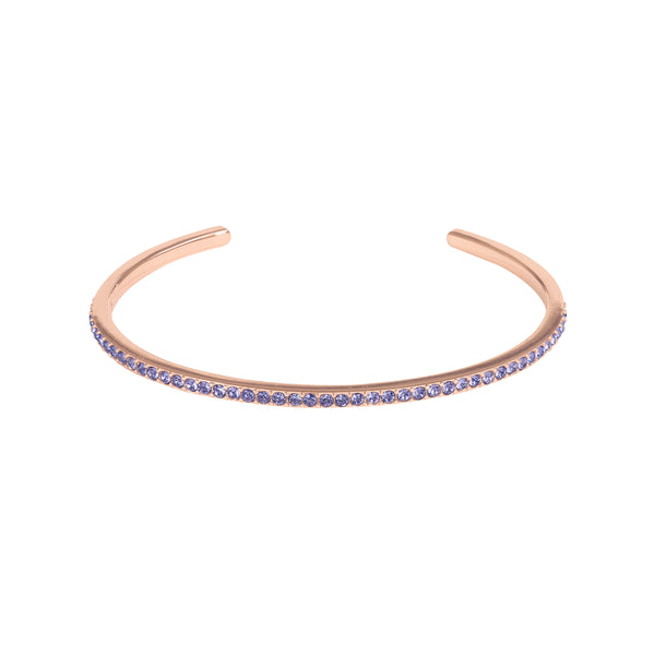 Skinny Pavé Bangle - Tanzanite/Rose Gold Plated