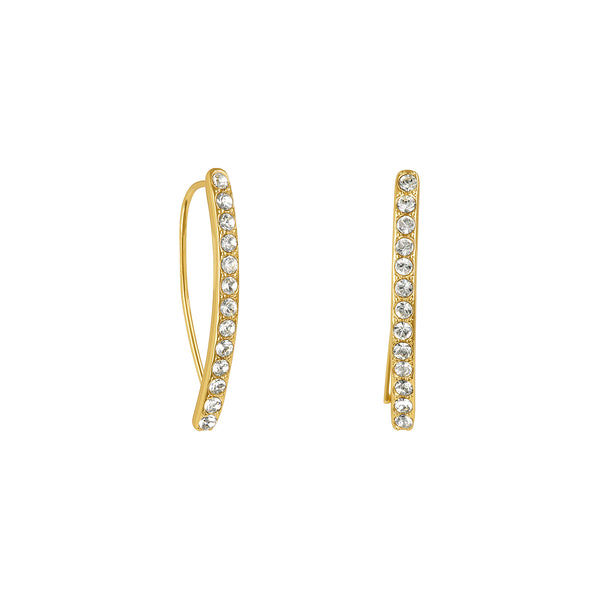Adore Elegance Gold Mini Pavé Arc Earrings Detail