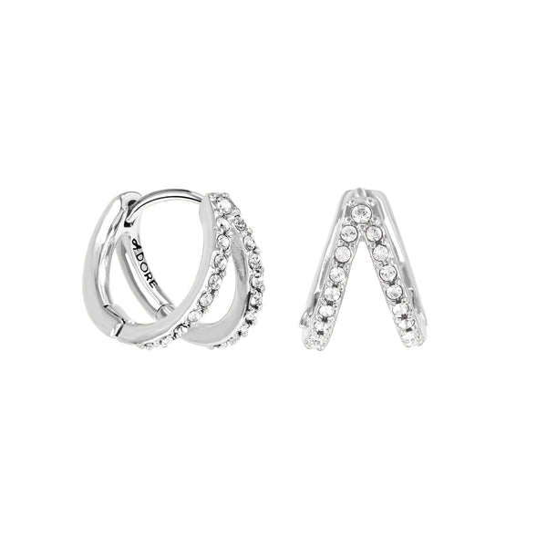 Adore Elegance Rhodium Pavé Double Mini Hoops Detail