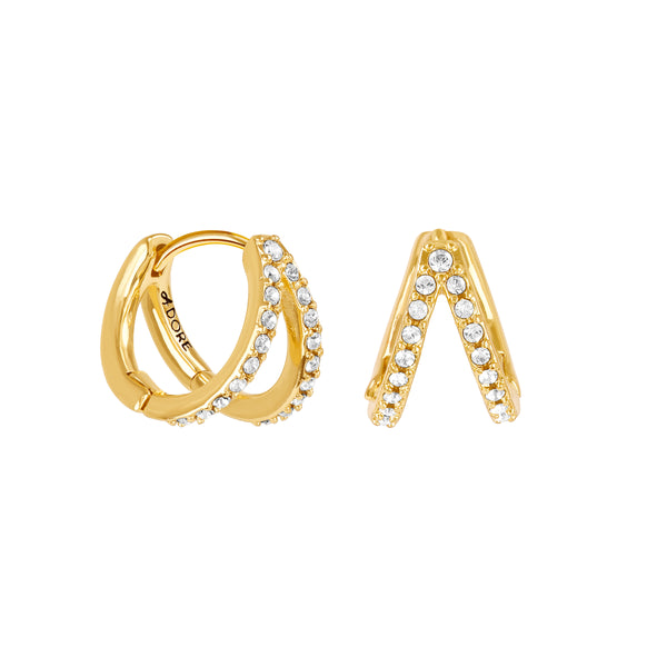 Adore Elegance Gold Pavé Double Mini Hoops Detail