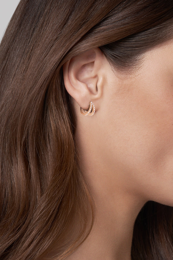 Adore Elegance Rose Gold Pavé Double Mini Hoops Worn