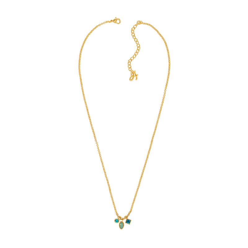 Gold Plated Adore Brilliance Crystal Charm Drop Necklace