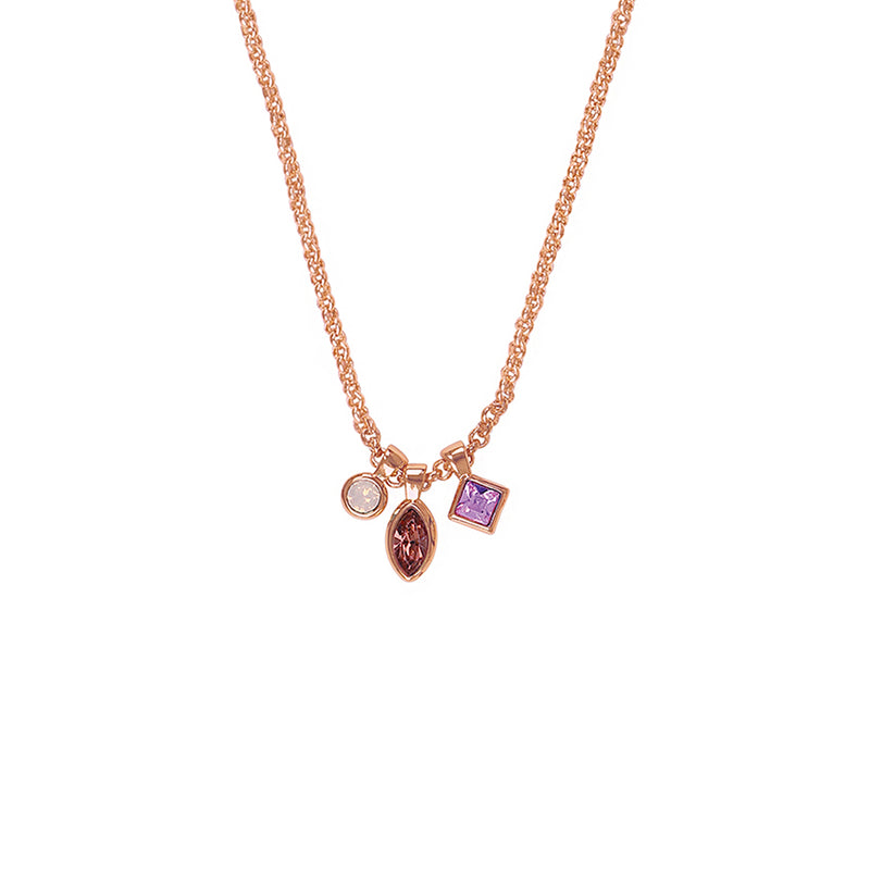 Rose Gold Plated Adore Brilliance Crystal Charm Drop Necklace Detail