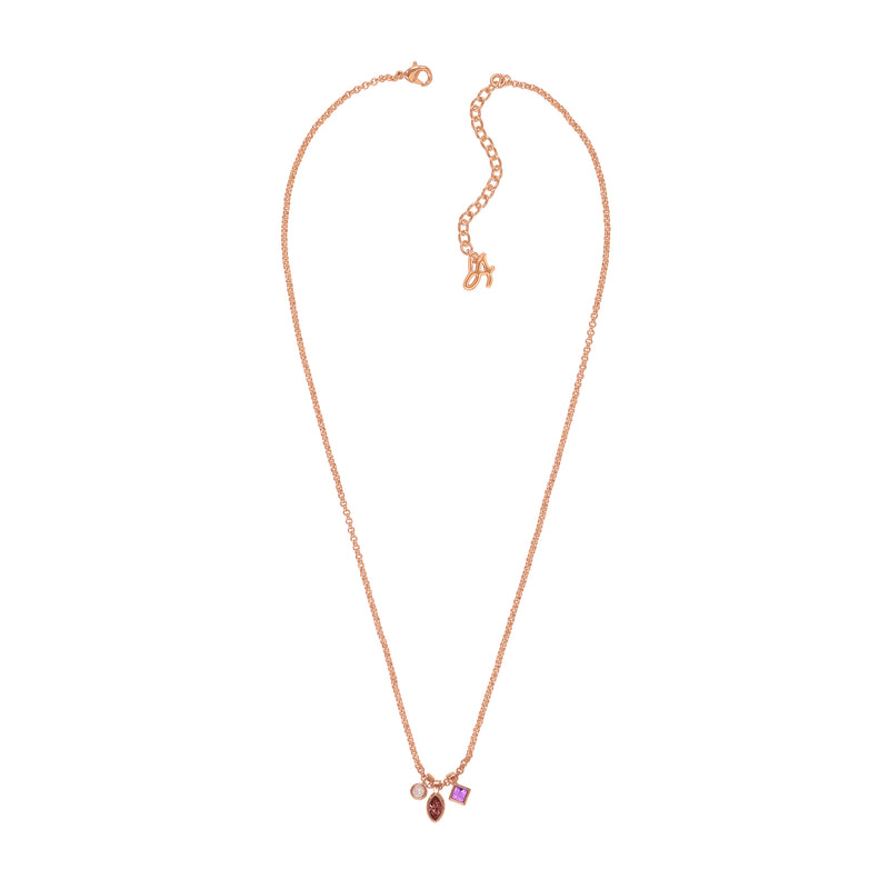 Rose Gold Plated Adore Brilliance Crystal Charm Drop Necklace
