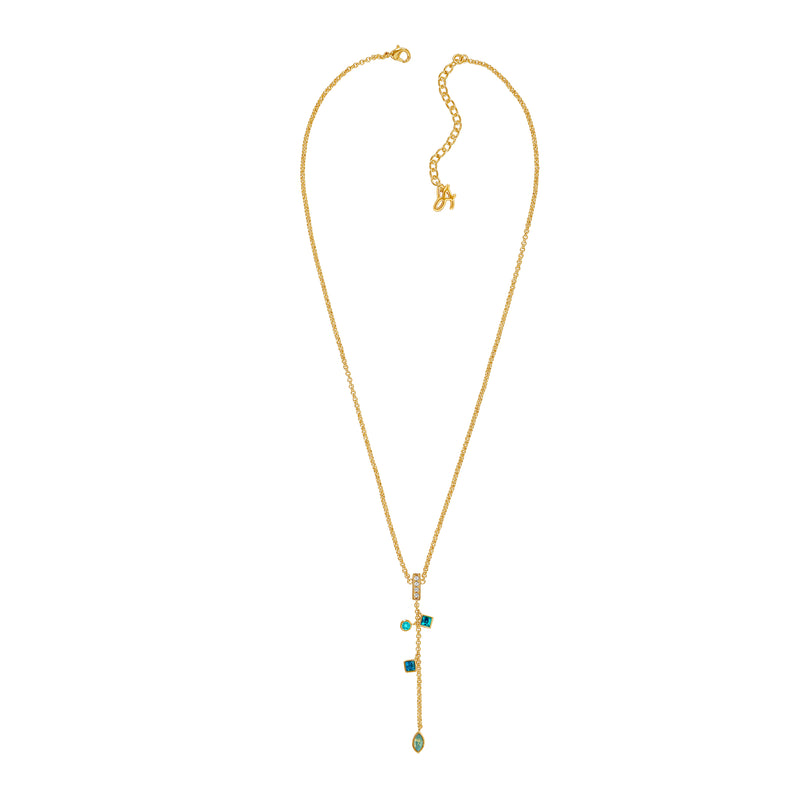 Gold Plated Adore Brilliance Crystal Charm Drop Y Necklace