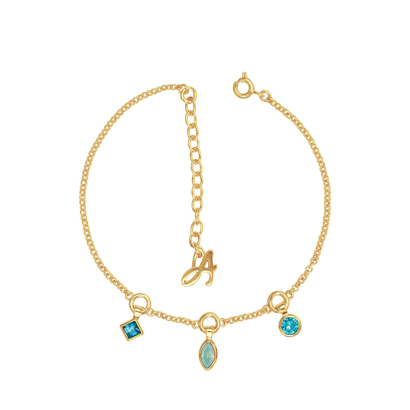 Gold Plated Adore Brilliance Crystal Charm Drop Line Bracelet Detail