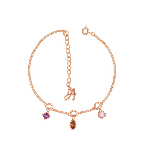 Rose Gold Plated Adore Brilliance Crystal Charm Drop Line Bracelet Detail
