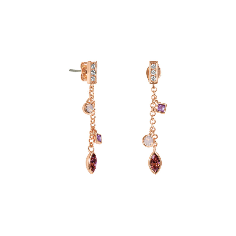 Rose Gold Plated Adore Brilliance Crystal Charm Drop Chain Earrings Detail