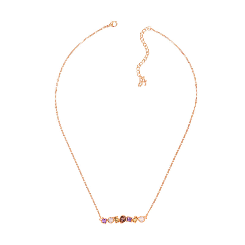 Mixed Crystal Bar Necklace - Pink Multi/Rose Gold Plated