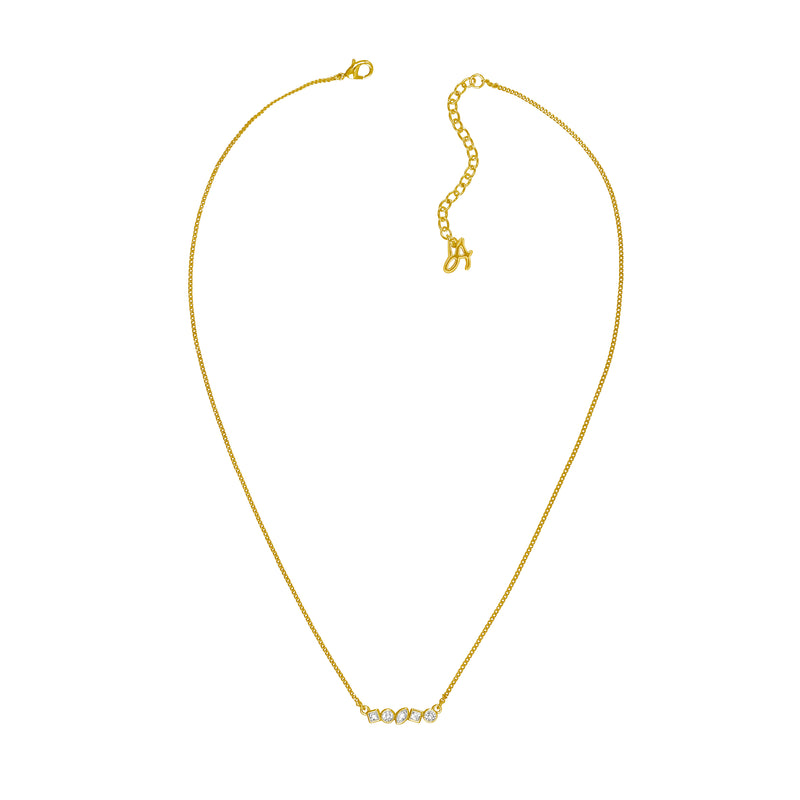 Adore Brilliance Gold Mini Mixed Crystal Bar Necklace