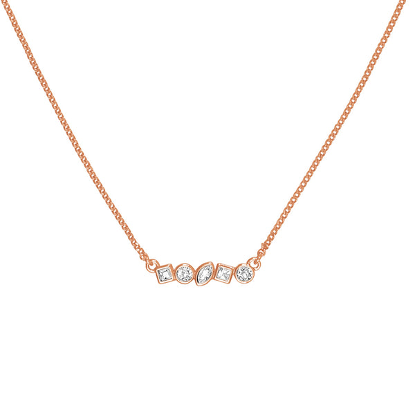 Adore Brilliance Rose Gold Mini Mixed Crystal Bar Necklace Detail