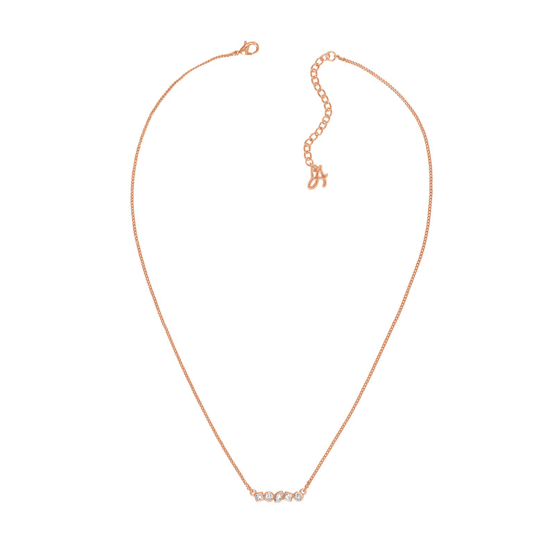 Adore Brilliance Rose Gold Mini Mixed Crystal Bar Necklace