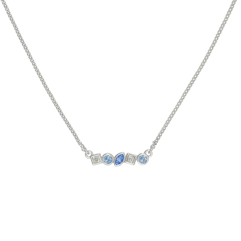 Adore Brilliance Rhodium Blue Mini Mixed Crystal Bar Necklace Detail