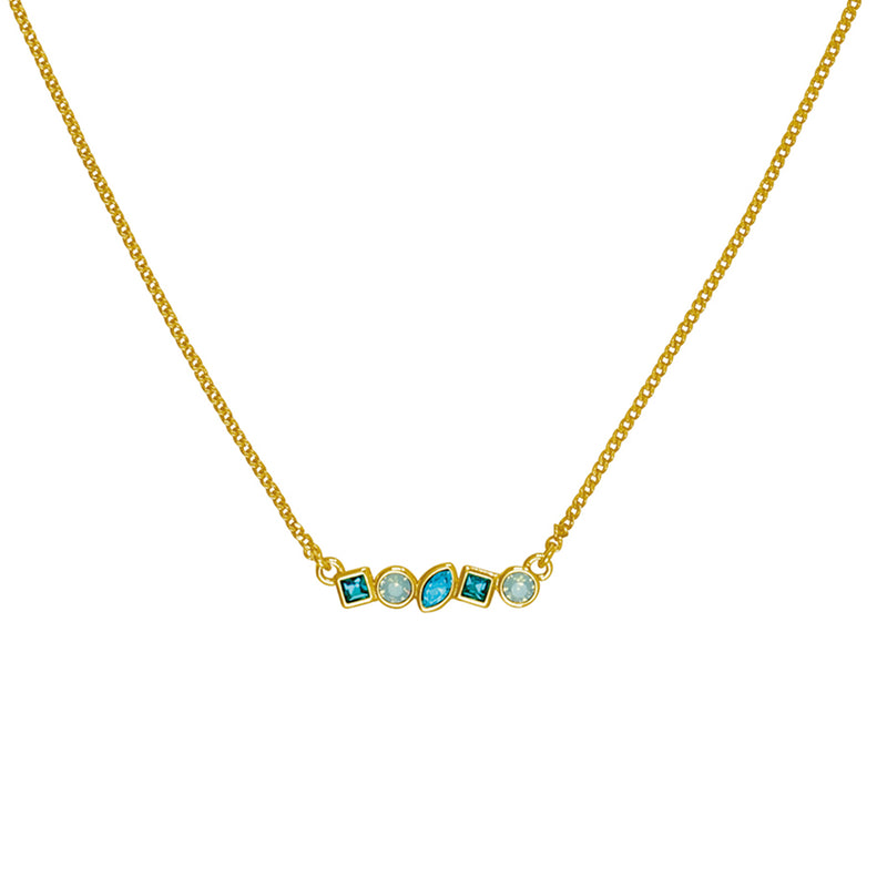 Adore Brilliance Gold Turquoise Mini Mixed Crystal Bar Necklace Detail