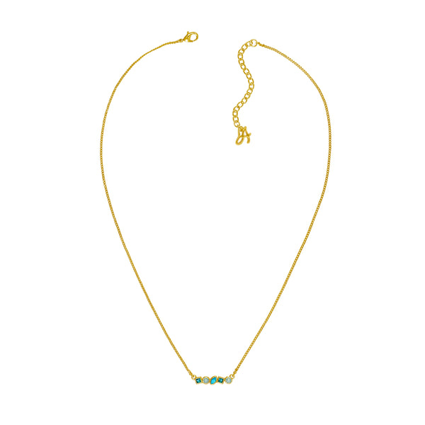 Adore Brilliance Gold Turquoise Mini Mixed Crystal Bar Necklace