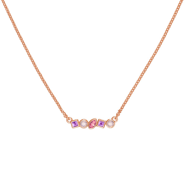 Adore Brilliance Rose Gold Pink Mini Mixed Crystal Bar Necklace Detail
