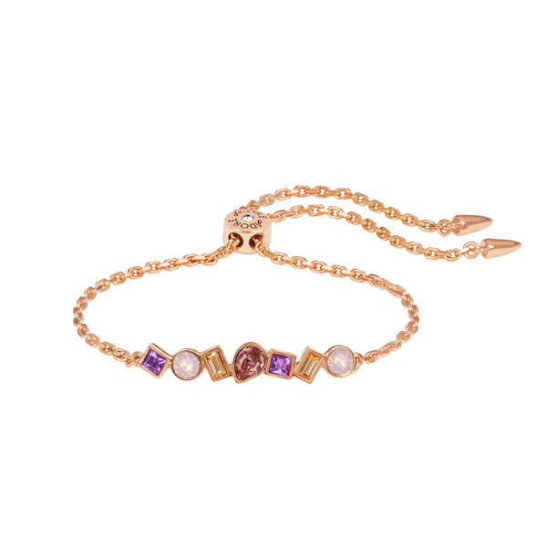 Mixed Crystal Bar Slide Bracelet - Pink Multi/Rose Gold Plated