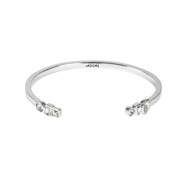 Mixed Crystal Cuff - Crystal/Rhodium Plated