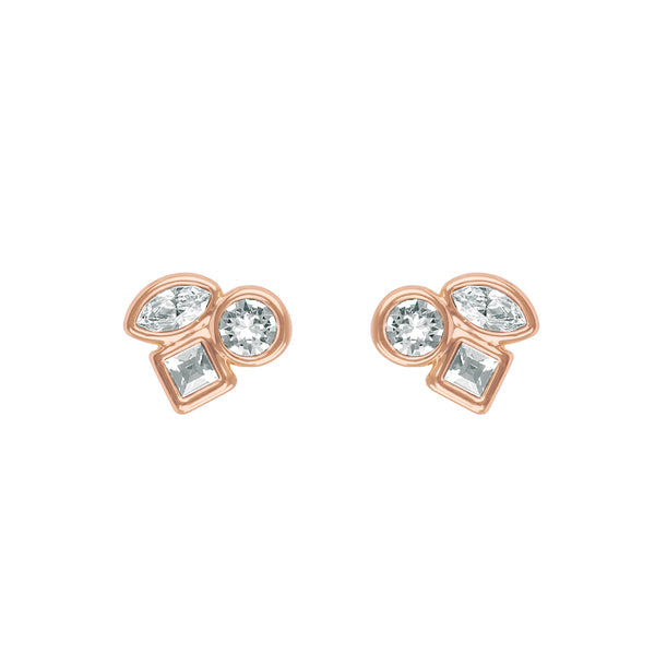 Mini Mixed Crystal Stud Earrings - Crystal/Rose Gold Plated