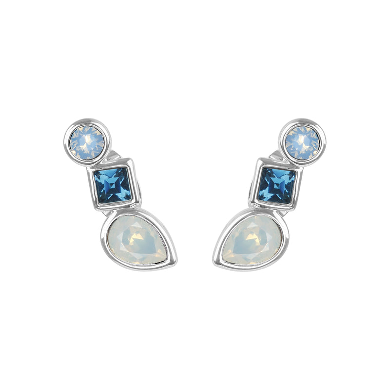 Mixed Crystal Linear Stud Earrings - Blue Multi/Rhodium Plated