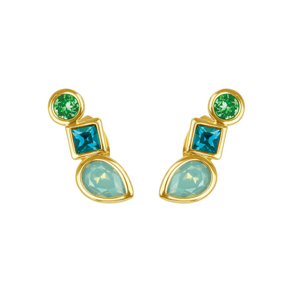 Mixed Crystal Linear Stud Earrings - Turquoise Multi/Gold Plated