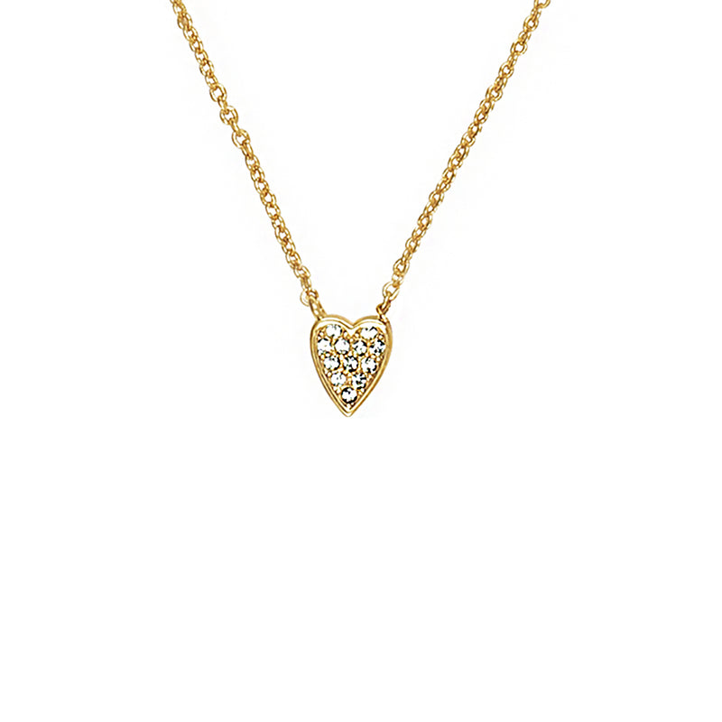 Adore Signature Gold Mini Pavé Heart Necklace Detail