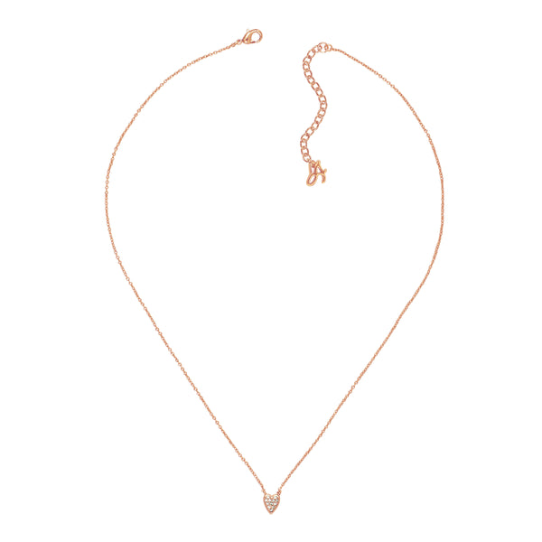 Adore Signature Rose Gold Mini Pavé Heart Necklace