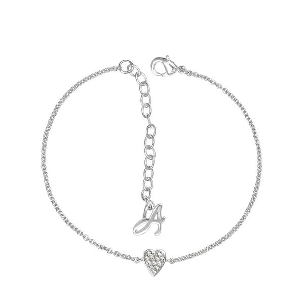 Adore Signature Rhodium Mini Pavé Heart Bracelet Detail