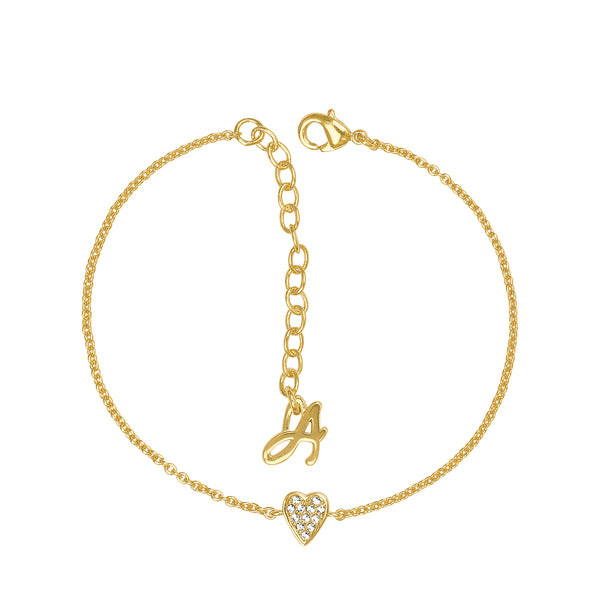 Adore Signature Gold Mini Pavé Heart Bracelet Detail