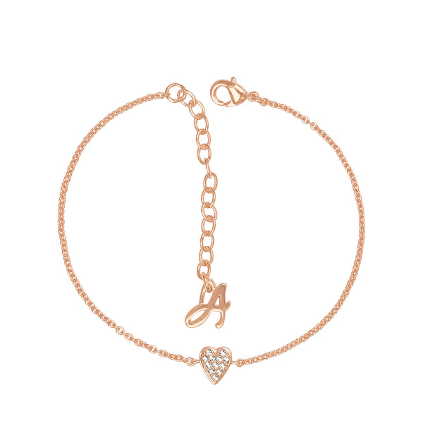 Adore Signature Rose Gold Mini Pavé Heart Bracelet Detail