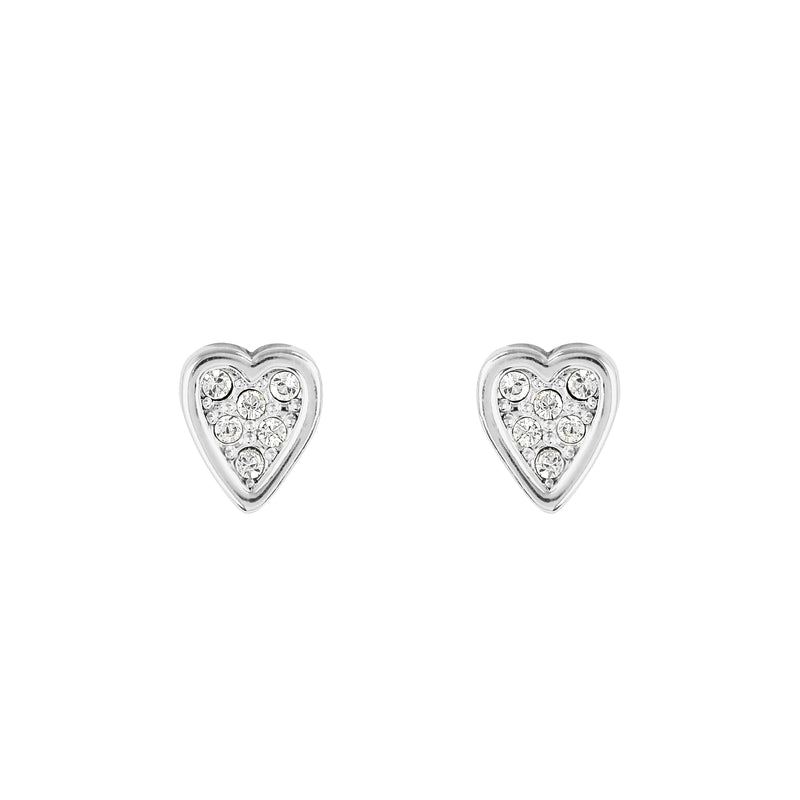 Adore Signature Rhodium Mini Heart Stud Earrings Detail