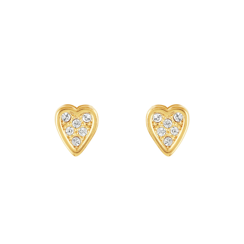 Adore Signature Gold Mini Heart Stud Earrings Detail