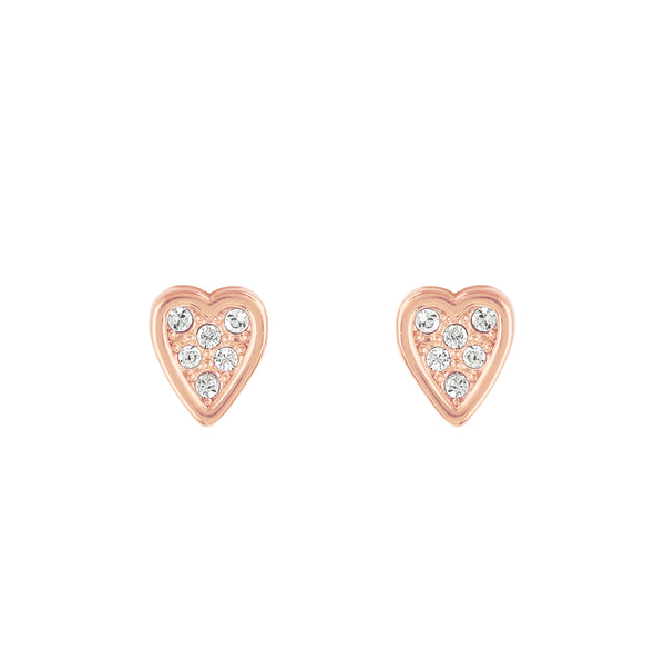 Adore Signature Rose Gold Mini Heart Stud Earrings Detail