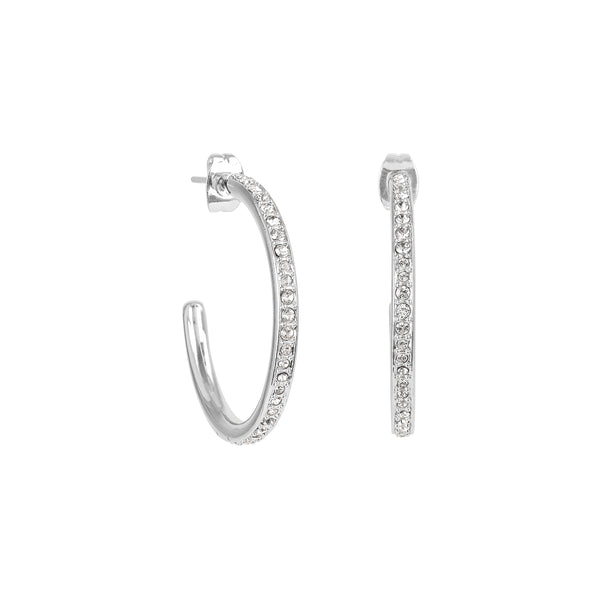 Adore Signature Rhodium Large Organic Circle Hoops Details