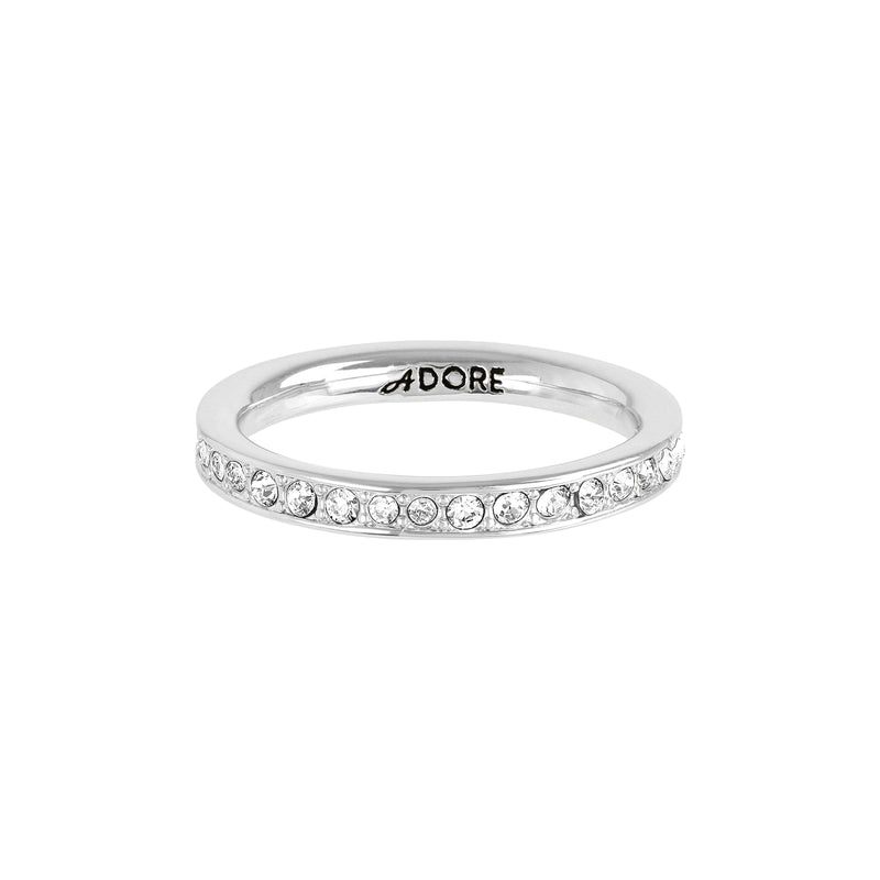 Organic Circle Stacking Ring - Crystal/Rhodium Plated