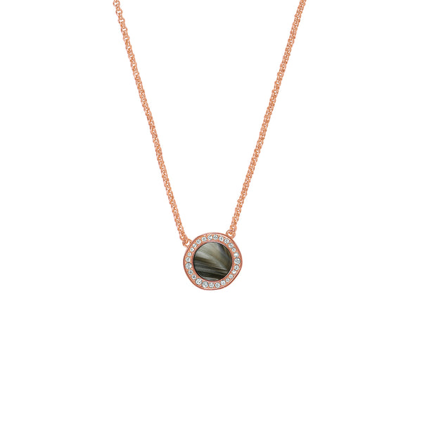 Rose Gold Plated Adore Naturale Organic Circle Resin Pendant Necklace Detail