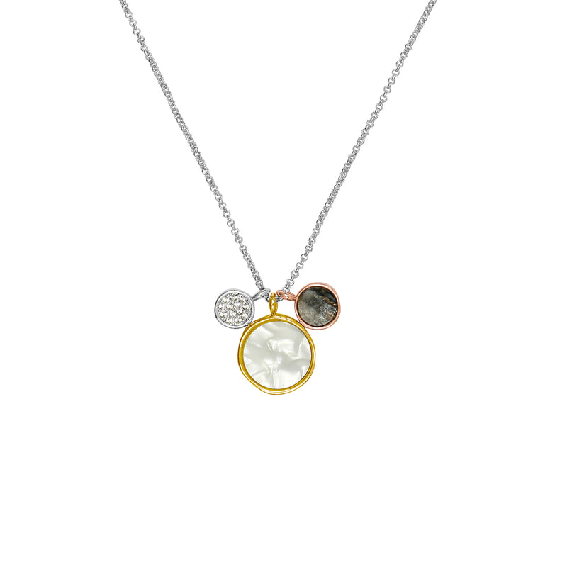 Adore Naturale Small Organic Circle Resin Charm Necklace Detail